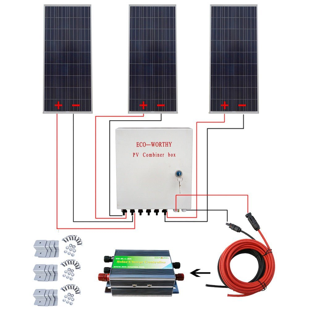 Get Quotations · ECO-WORTHY 450W Polycrystalline Off Grid Solar Starter  Kit: 3pcs 150W Poly Solar Panels