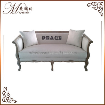 French Antique Fabric Furniture Linen Sofa