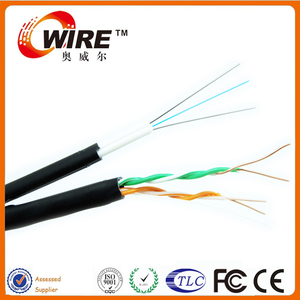 Solid Bare Copper 0.5mm Cat6 UTP Lan Cable SM G652D 2 Core Hybrid Fiber Cable For WLAN