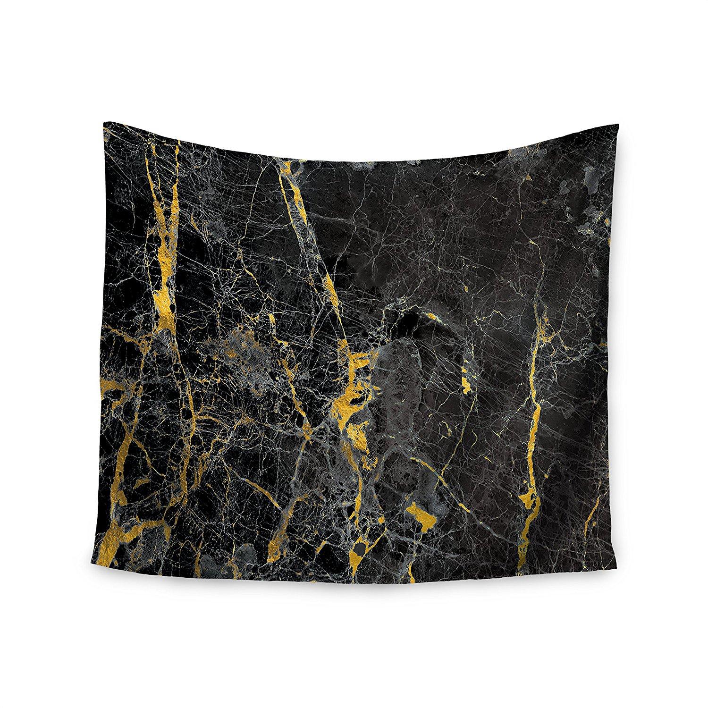 "KESS InHouse KESS Original ""Gold Fleck Black Marble"" Digital Abstract Wall Tapestry, 51"" x 60"""
