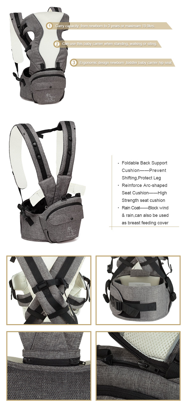 new stylish kangaroo,chest way,backpack baby carrier hip seat