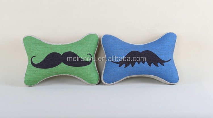 simple and popular cute bone shape mustache printed design linen home decorative chair sofa cushion neck rest car cushion pillow
