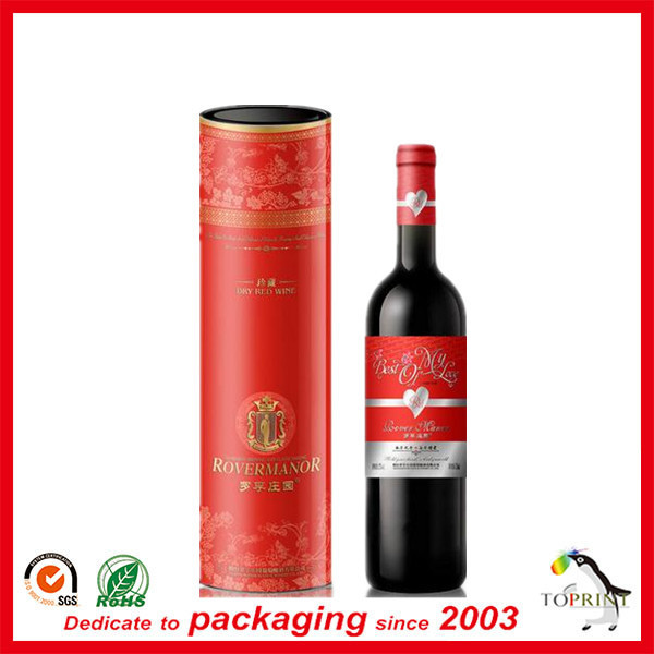 Recyclable cardbord material wine tube paper wine box with logo printed for beverage packaging