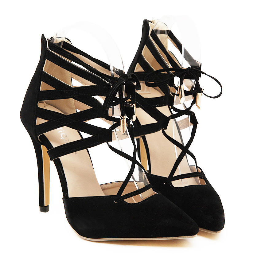 130 fashion leather black Office Work High Heel Ankle Sexy sandals ladies tassel gladiator sandals