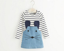 Casual style long sleeve Striped lovely little mouse design girls dress 2015 New Arrive Autumn children clothing
