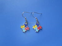 puzzle piece autism awareness earrings autism jewelry for kids