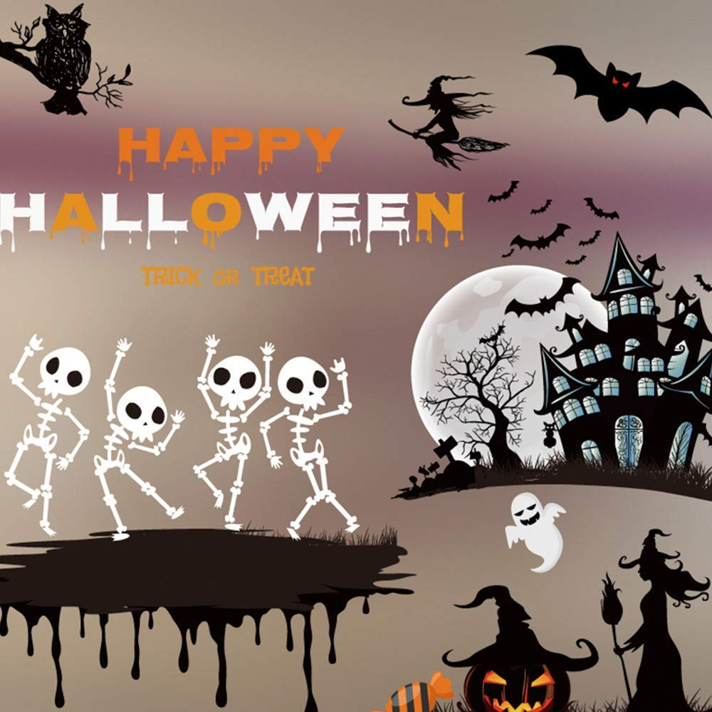 Rumas Horror Happy Halloween DIY Wall Murals for Kids Room - Removable Home & Kitchen Wall Decals - Wall Stickers for Office Haunted House Bedroom - Wallpaper Peel and Stick (Multicolor)