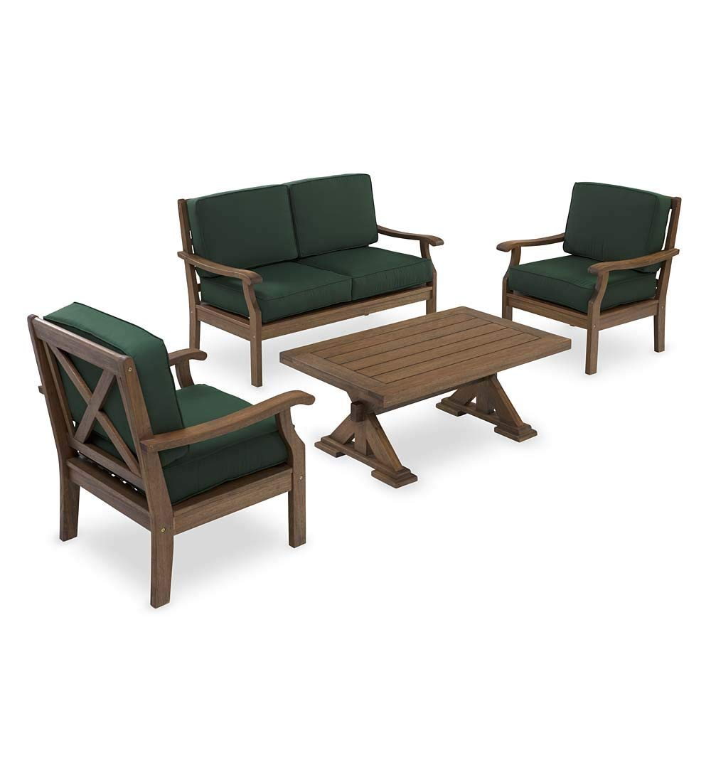 Claremont Outdoor Patio Deep Seating Love Seat Furniture Set with Cushions - Forest Green