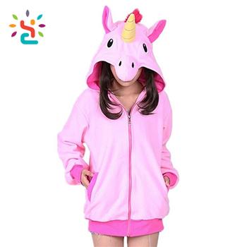 33de918dafad62 Cute Cartoon Unicorn Hoodies Long Sleeve Zipper Outerwear zip up Jacket  Sweatshirt hoodies pull over