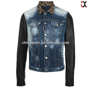 f8805614c8a New Arrival Fancy Leather Sleeves Denim Jacket For Men Jxh25028 ...