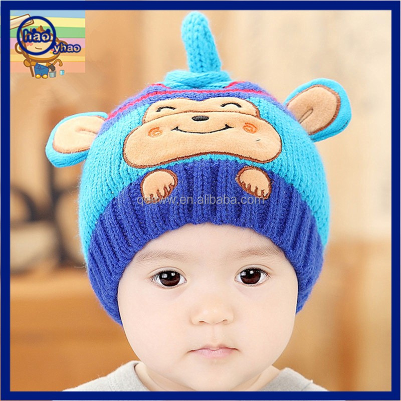 4d2a790c9e1 Fashion design cute dog jacquard stereo animal ear baby hats wholesale knitted  winter beanie hats and cap with two ears