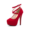 New designer factory wholesaling women's ankle strap platform party pump dress high heel shoes