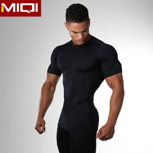 Wholesale four way stretchy breathable mens sports wear body fit T shirts for men