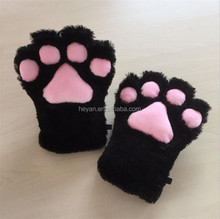 Black Fur Cat Paws Gloves Wolf Bear Dog Hands Cosplay Costume Claws Soft for Adults