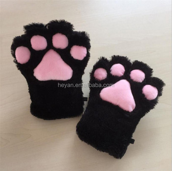 Black Fur Cat Paws Gloves Wolf Bear Dog Hands Cosplay Costume Claws
