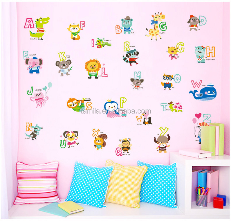 new animal shape alphabet letters sticker wall stickers A to Z large decal for childrens baby rooms kids 3d wall stickers