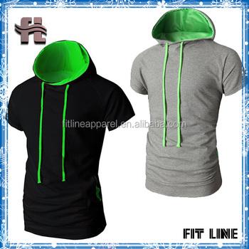 65da43cf731 Men s Popular CVC Stringer Hoodie Active Short Sleeve Hooded T shirt ...