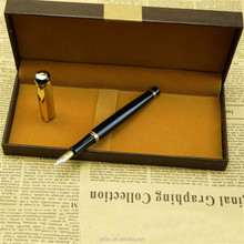 Newest design luxury custom logo black metal fountain pen with gift box
