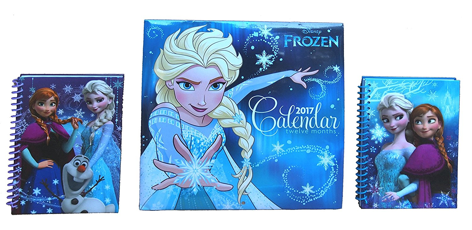 """Disney Frozen Notebook Journals and Frozen 2017 Calendar Bundle – Three Items: Two 5"""" x 7"""" Journals (48 pages each) and One 12-Month 2017 Calendar (10"""" x 10"""")"""