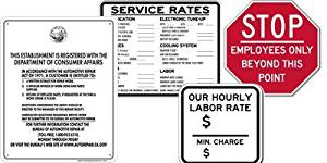 California Auto Repair and Service Station Sign Kit Includes All 4 Signs: California Required Bureau of Automotive Repair (B.A.R.) Sign, Service Rates Signs, Hourly Rate Sign and Employees Only STOP Sign