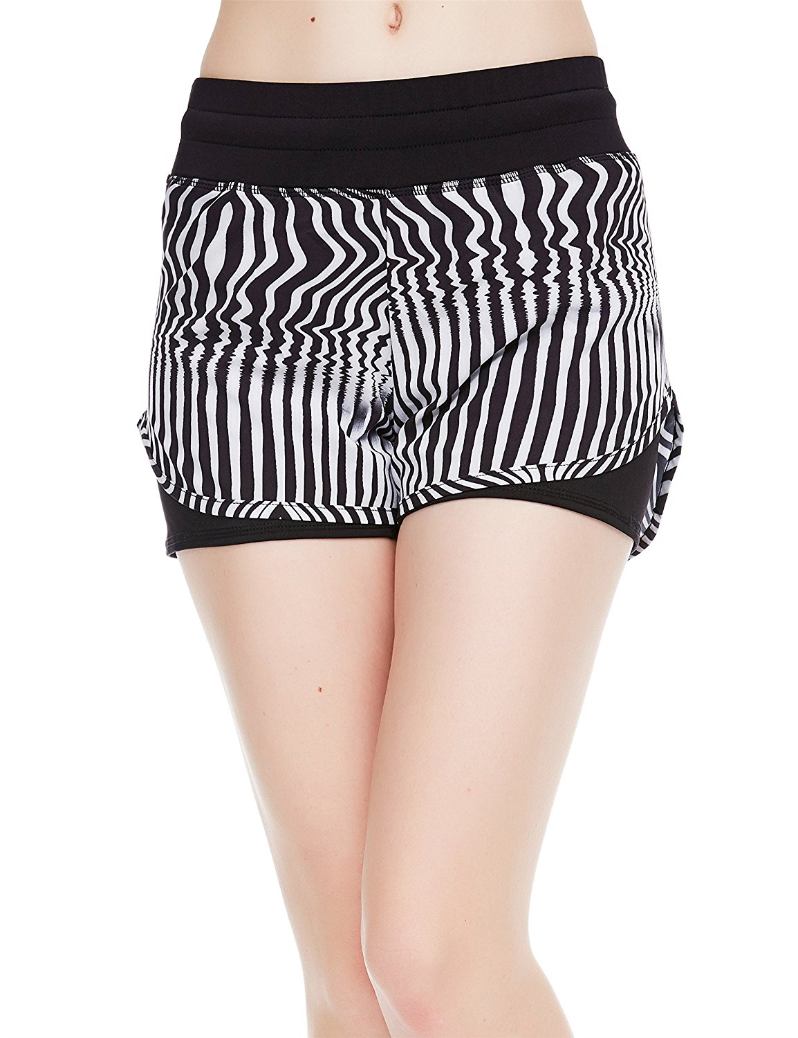 icyzone Yoga Shorts Activewear High Waisted Running Workout Drawstring Shorts for Women 2-in-1