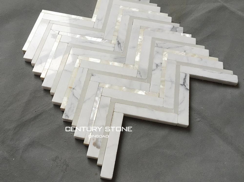 Italian Calacatta White Mix Pearl Shell Chevron Mosaic
