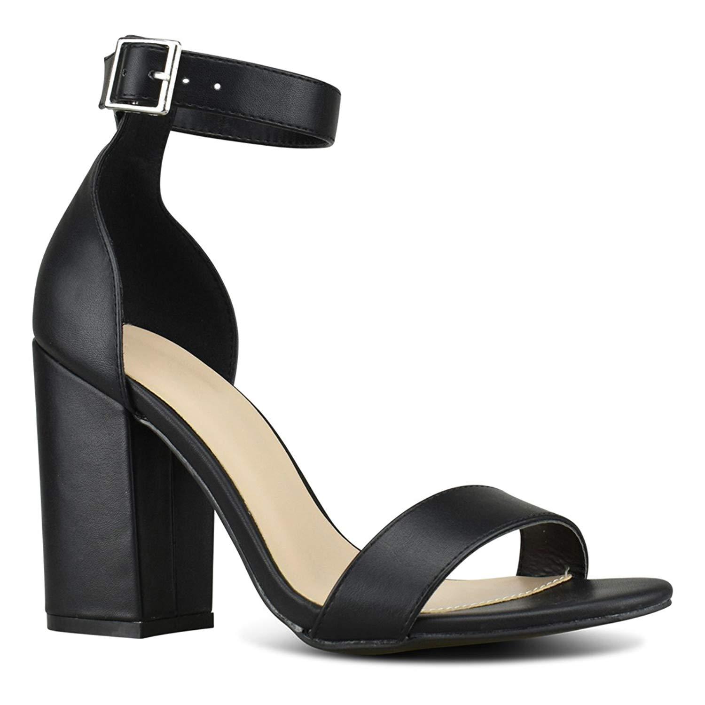 Premier Standard Women's Comfort High Heel Sandal - Open Toe Ankle Strap Sexy Dress Chunky Block Heel - Stiletto Sandals