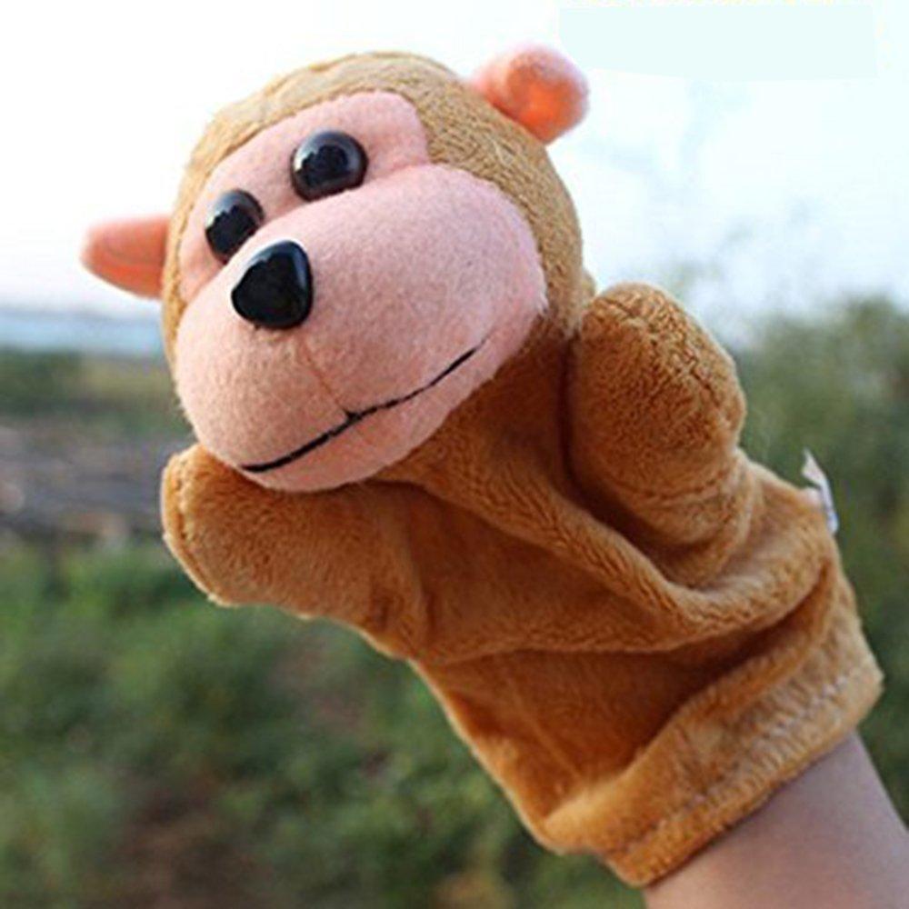 LUCKSTAR(TM) 1PC Cute Velvet Animal Style Hand & Finger Puppet Toy Plush Toy For Kids Preschool Kindergarten (Monkey)