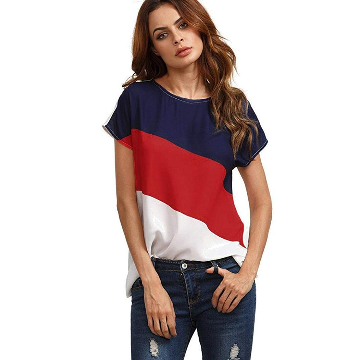 SCSAlgin Women Blouse Women's Color Block Blouse Short Sleeve Casual Tee Shirts Tunic Tops