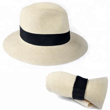 Moda hombres mujeres plegable sombrero de paja Fedora Panamá estilo  packable recorrido sol sombrero 848148a7457