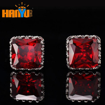 8 8mm Zirconia Stud Earrings Red Cubic G Setting For Boys And