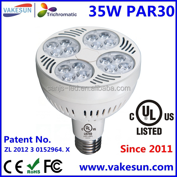 Dimmable 35W LED PAR30 for Christmas Promotion UL/cUL/FCC/CE/RoHS AC100-240V Warm White/Day White/Cool White E26/E27/GX24/GU10