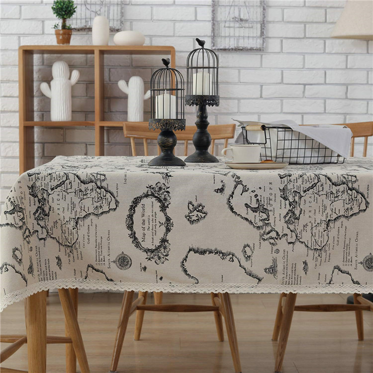 World Map Print Washable Tablecloth Vintage Rectangle Dinner Picnic Table Cloth