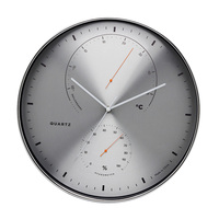 Deheng 16 inch new design Plastic Framed Custom Wall Clock with Temperature and humidity dial