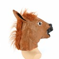 Cosplay Halloween Full Head Horse Head Mask Face Horse Mask Latex Creepy Crazy Rubber Animal ZOO