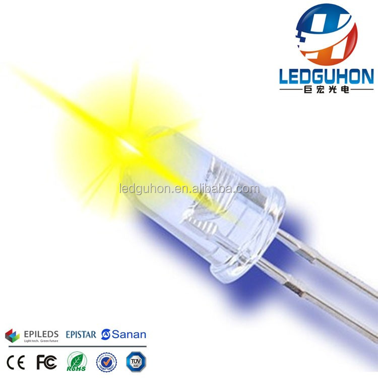 water clear 595nm yellow color through hole 0.06W 5mm dip led source