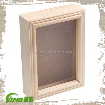 Commercial Wooden Shadow Box Frames Whole Square Wall Mounted Deep Picture Hanging Frame Natural Wood