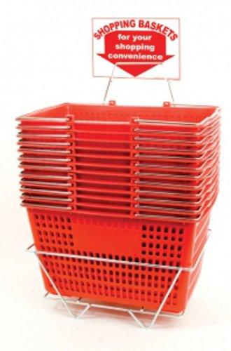12 Basket Set Shopping Baskets Red Finish Jumbo-size, Heavy-duty, Basket