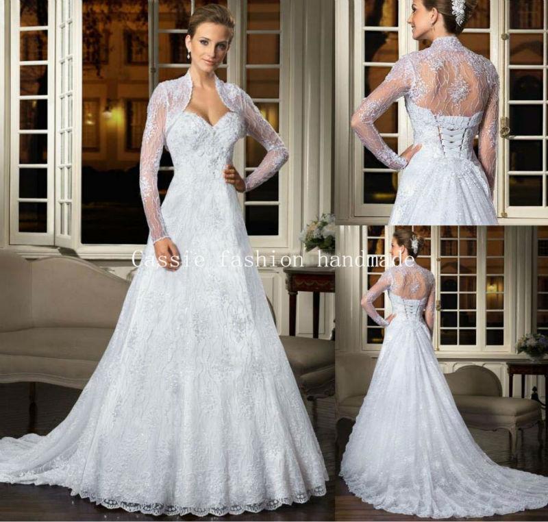 2015 New Elegant Full Long Sleeves Mermaid Wedding Dresses: Hot 2015 Elegant Sweetheart Wedding Dresses With Jacket