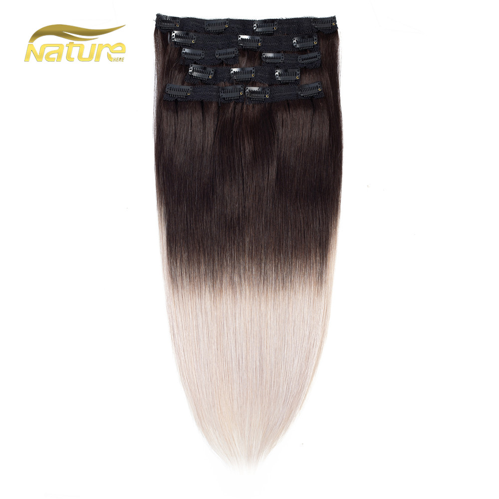 "Naturehere unprocessed 100% indian virgin human hair 20"" seamless dark brown easy clip in hair extensions"