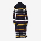 Ladies' Fashion Kniitted Ribbed Wide Circulation Color Stripe Long Dress