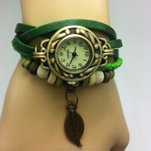Modern women vintage leather bracelet wrap quartz watch with leaves charm in cheap price