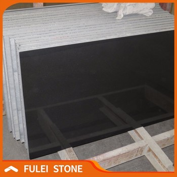 Polished 2cm Thick Absolute Black Granite Floor Tiles For Living Room