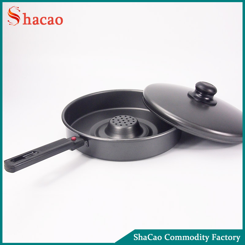 Holes in The Middle Free Oil Carbon steel Non Stick Fry Pan With Detachable Handle