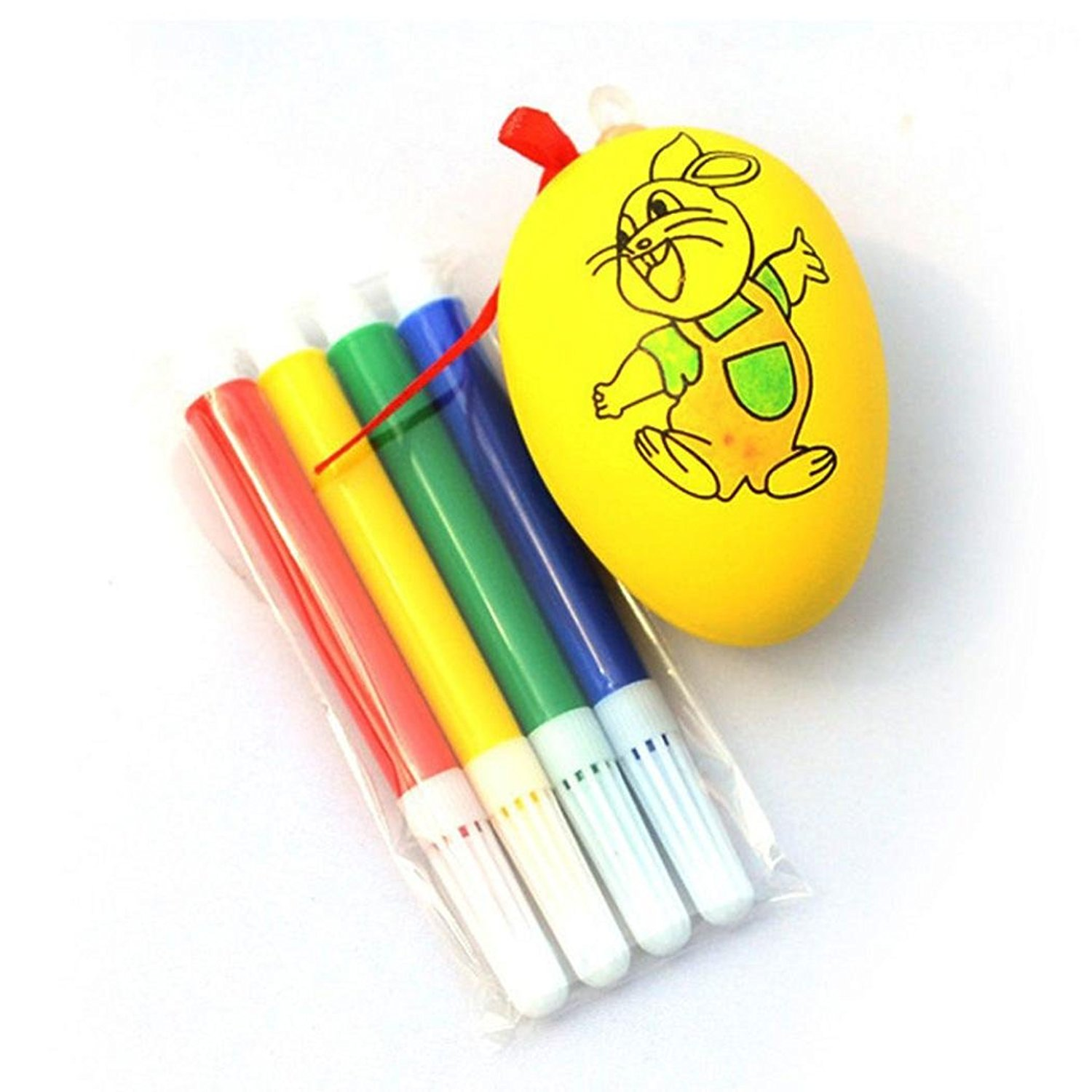 Easter Egg Education Toys(4.5x6CM),Tuscom Water Color Pen & Egg Kids DIY Painting Color Egg Toy
