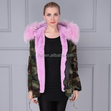 Latest style short winter camouflage purple jacket fashion parka fabric cotton shell fur blending casual parka turmeric color