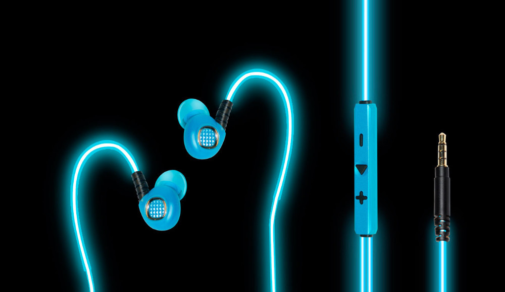 EL Light Glowing Flexible Earhook Premium Earbuds [Noise Isolating] with Mic & Volume Control Stereo headphone | Earphone