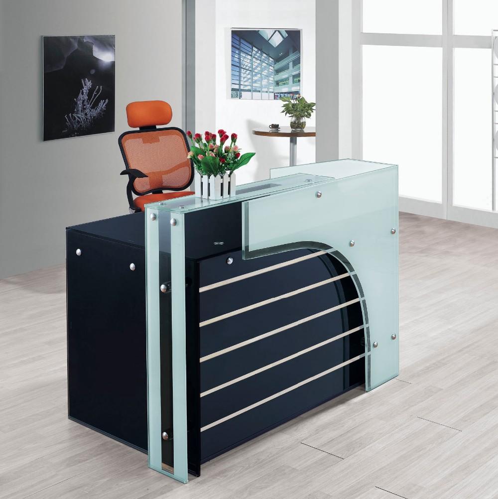Office Furniture Office Counter Design Glass Top Reception Desk ...