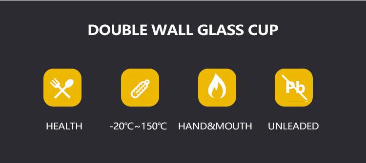 新デザインハンドメイドホウケイ酸二重壁ガラスのフルーツボウル