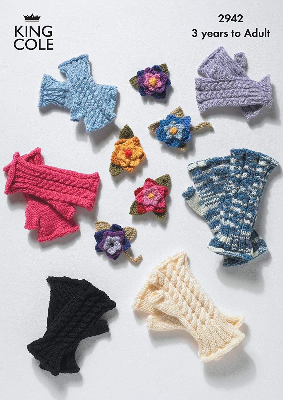 James Brett Double Knitting Pattern Womens Owl Panda Hat Fingerless Gloves JB237